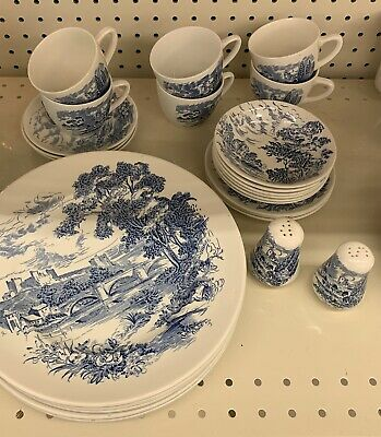 Wedgewood Countryside Enoch Blue White China Set Blue White Qty 26 pieces