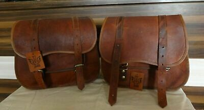Goat Leather Motorcycle Saddle Bag Two Brown Leather Side Pouch Travel Panniers