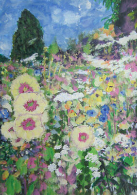 In a Cottage Garden: an original painting on canvas by Jenny Hare
