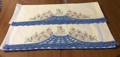 Pair Vintage Embroidered Crocheted Edge Pillow Cases. Beautiful.