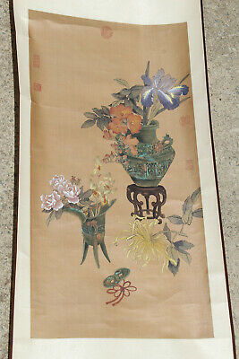 Lot #1 Chinese/Japanese Painted Hanging Art Scroll Hand Painted Watercolor Nr