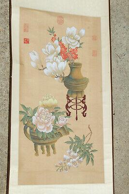 Lot #3 Chinese/Japanese Painted Hanging Art Scroll Hand Painted Watercolor Nr