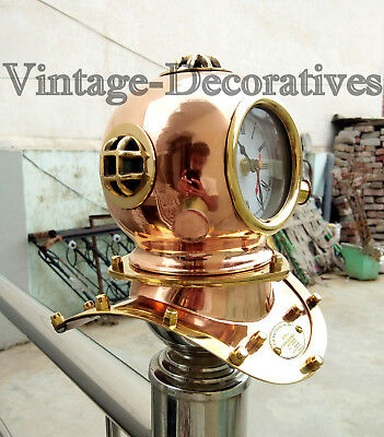 Nautical Brass Divers Helmet Clock Handmade Maritime Table Top Clock Marine Gift