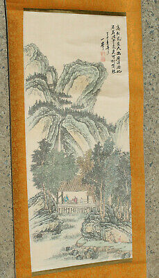Lot #6 Chinese/Japanese Painted Hanging Art Scroll Hand Painted Watercolor Nr