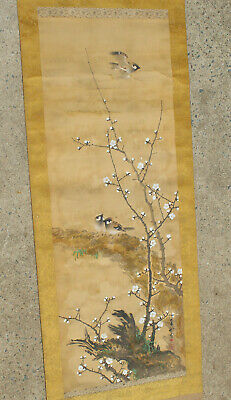 Lot #8 Chinese/Japanese Painted Hanging Art Scroll Hand Painted Watercolor Nr