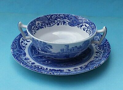 Six Spode Italian Soup Coupes And Saucers