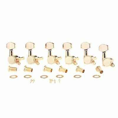 Electric Guitar Gold Locking Machine Heads Tuners Tuning Pegs 6 in Line Strat