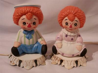 1960s RAGGEDY ANN & ANDY Bisque Porcelain/Metal NIGHTS LIGHTS NITE LITES~2~Japan