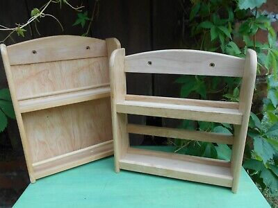 PINE WOOD 2 TIER wall mountable SPICE  RACKS X 2