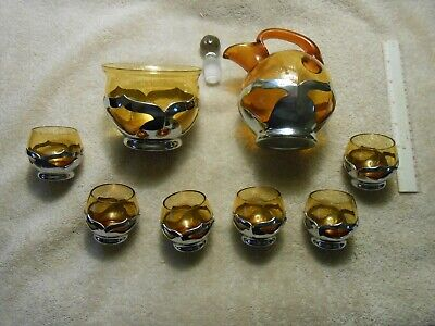 Vintage Farber Bros Chrome & Amber Glass Decanter Set With Rare Ice Bucket