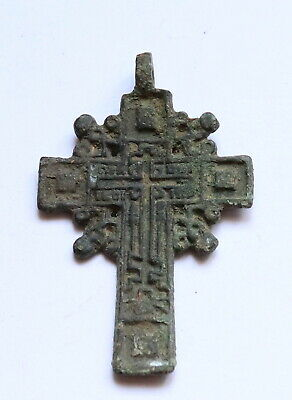 Authentic Late Medieval Era Bronze Radiate Cross Pendant - Wearable