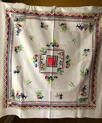 """Collectable Vintage Souvenir 50"""" x 50"""" Cotton Tablecloth with """"Mexican Images"""""""
