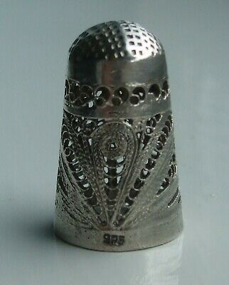 Filigree Silver Thimble Stamped 925, Date Unknown