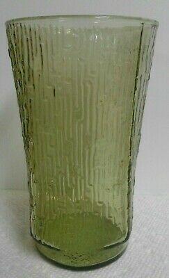 Vintage Retro Style Glass Tumbler 10 oz. Green Textured Water Juice Replacement