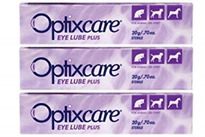 OptixCare Eye Lube Plus + Hyaluron 20g for Dog Cat Horses, Pack of 3