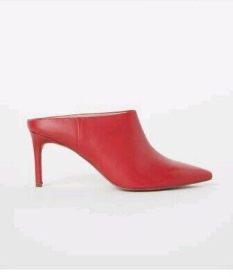 New H&M RED LEATHER  nules heels stuletto heels sz 7/ 40