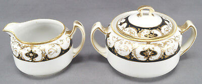 Nippon Hand Painted Black & Gold Scrollwork Moriage Creamer & Sugar AS IS