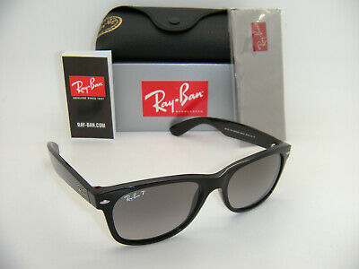 New Authentic Ray-Ban RB2132 6406M3 55mm Shiny Black / Grey Gradient Polarized