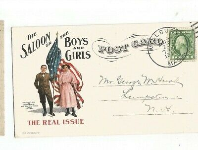 Saloon Or Boys Or Girls Real Issue Temperance Suffragette Millbury Massachusetts