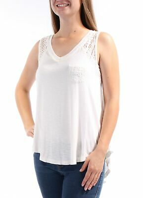 AMERICAN RAG $59 Womens New 1252 Ivory Lace V Neck Hi-Lo Casual Top S B+B