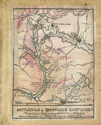 Battlefield of Dinwiddie Courthouse Virginia c1865 map 12x15