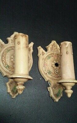 2 Vintage Wall Sconce Cast Art Deco Painted Metal Electric Candle Light Wall