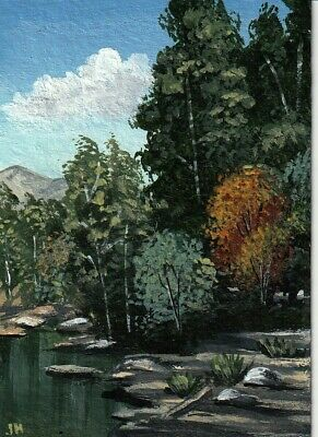 """aceo original acrylic painting """"Trees by the Stream"""" by J. Hutson"""