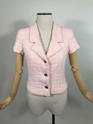 Authentic CHANEL Pile Jacket Coco Mark Button Women's #F38 Light Pink Rank BC