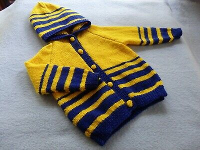 Hand knitted baby / infant hooded cardigan size 1