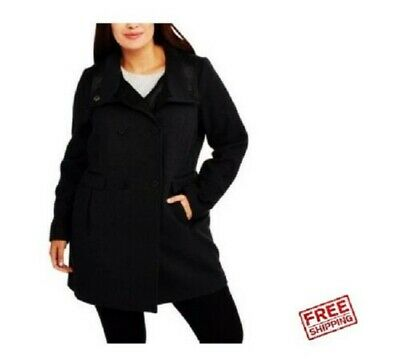 Fresh New York Women's Black Double-Breasted Faux Wool/Leather Peacoat Small