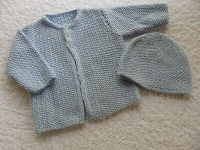 Hand knitted baby jacket and beanie size 000