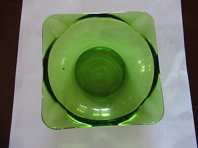VINTAGE GREEN ASHTRAY E.C. 60 s EXCELLENT CONDITION 12 CMS SQ.