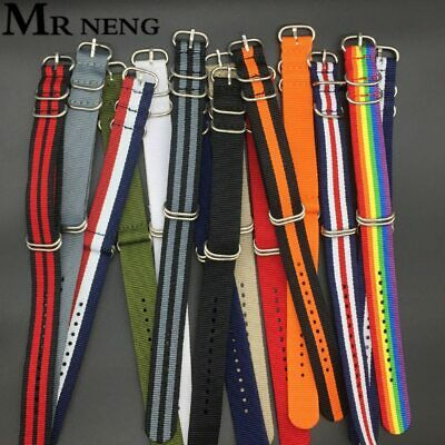 Heavy Duty Nylon Straps Nylon Watch Band Strap Black Zulu 5 Ring Buckle