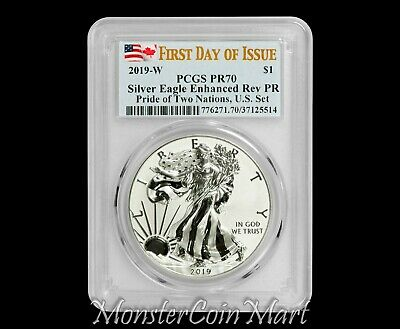 2019 W Reverse Proof Silver Eagle PCGS PR70 FDOI - Pride of Two Nations -IN HAND