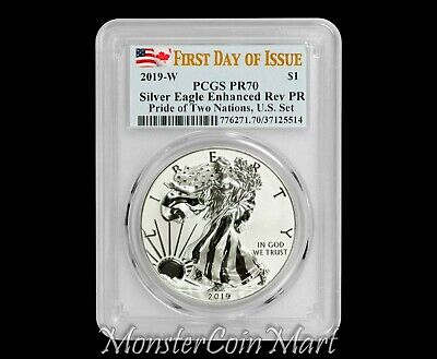 2019 W Reverse Proof Silver Eagle PCGS PR70 FDOI - Pride of Two Nations, IN HAND