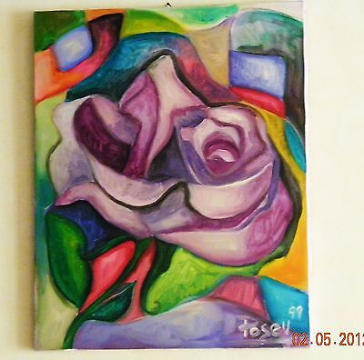 Marvin Posey Jr. Original Painting Acrylic On Canvas Lavender Rose Artist Signed