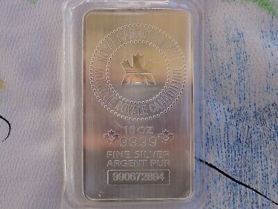 10 oz. Royal Canadian Mint sealedart bar .9999 ultra fine silver