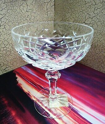 """Vintage WATERFORD Crystal 51/2"""" Saucer Champagne Glass POWERSCOURT Paper Label"""