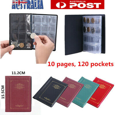 120 Coins Album Holder Money Storage Pockets Penny Collection Book Collecting AU
