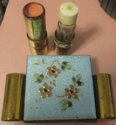 1950'S Vintage Compact Lip Stick, Perfume Holder One Stop Powder, Lip Stick