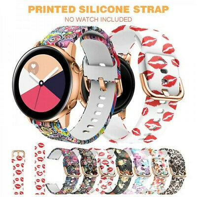 1pc For Samsung Galaxy Watch Active 20mm Silicone Sport Printed Wrist Band Strap