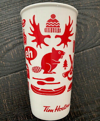 Tim Hortons 2018 Travel Mug Limited Edition Red Eh Canadian 12 oz