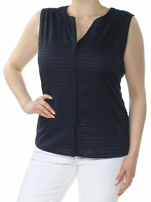 NYDJ $79 Womens New 1573 Navy Pleated Back Sleeveless V Neck Top XL B+B