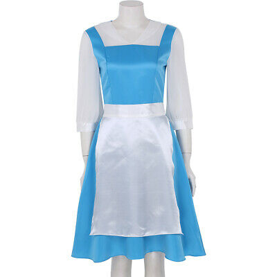 Blue Maid Dress Womens Adults Princess Cosplay Costume Halloween Bow Fancy Dress