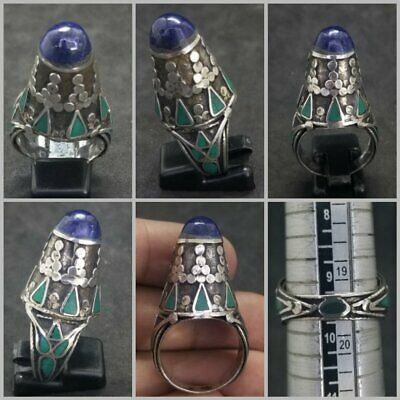 Wonderful solid silver ring with lapis lazuli and turquoise stone beautiful ring