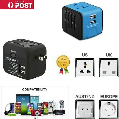 Universal Travel Adapter with 2.4A Dual USB Charger for US, UK, EU, AU  & Asia
