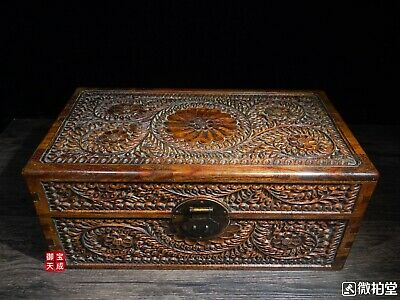 China Huanghuali Wood handcrafted lucky flower pattern Chest Jewelry Box casket