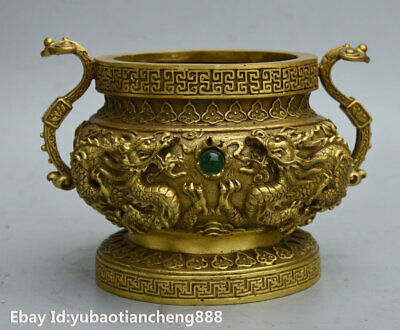 Chinese FengShui Brass lucky Dragon Play beads RuYi Statue incense burner censer