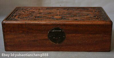China Huanghuali Wood handcrafted Lucky Dragon Statue Storage jewelry Box Boxes
