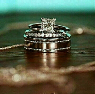 Couple Ring Set Womens Bridal Set With Mens Band 14k White Gold Over 2Ct Diamond